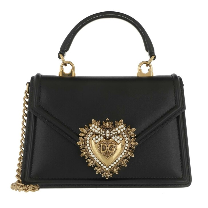 Handtasche, Dolce&Gabbana, DG Amore Saddle Bag Black