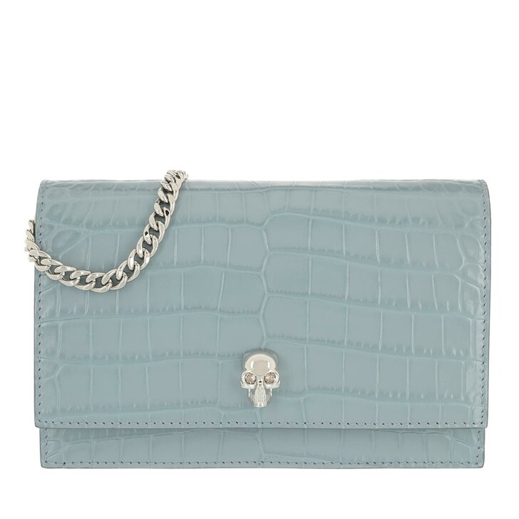 bags, Alexander McQueen, Skull Mini Crossbody Bag Leather Grey Blue