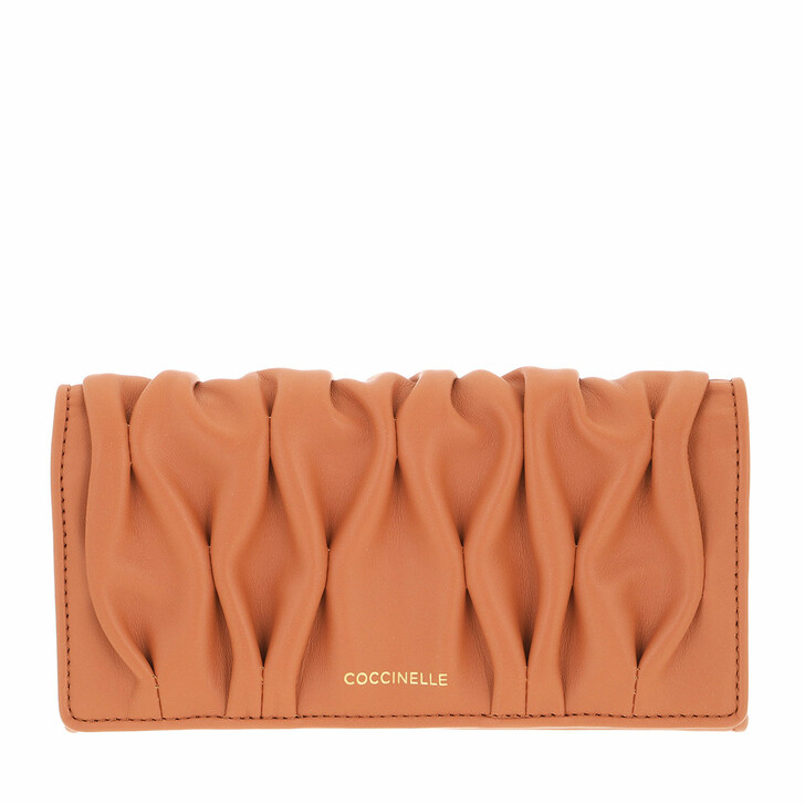 wallets, Coccinelle, Wallet Smooth Calf Leather Soft  Chestnut