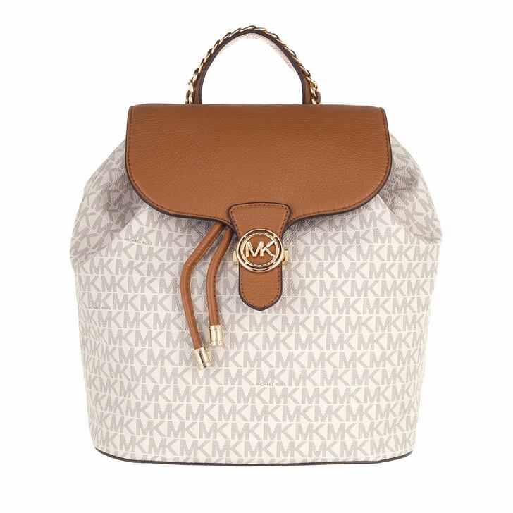 bags, MICHAEL Michael Kors, Large Drawstring Backpack Vanilla/Acorn