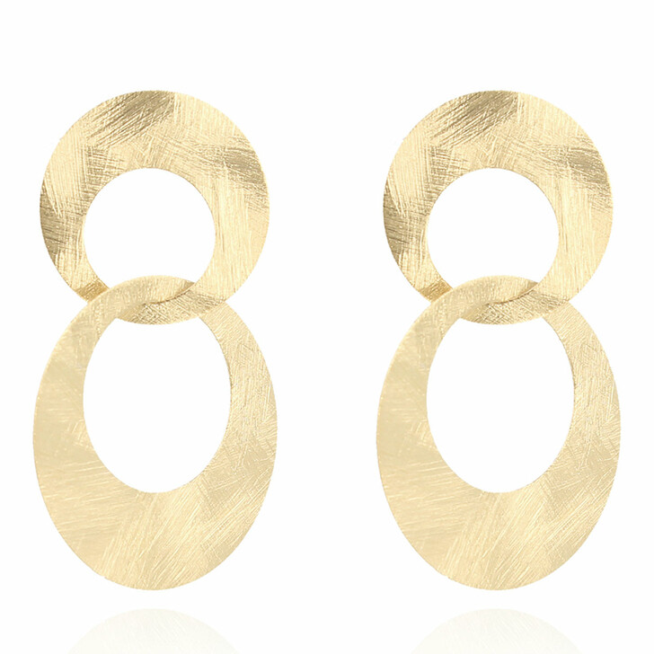earrings, LOTT.gioielli, Classic Earring Double Charm Satin Gold