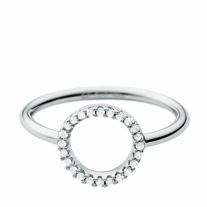 Ring, Michael Kors, Sterling Silver Pavé Circle Focal Ring Silver