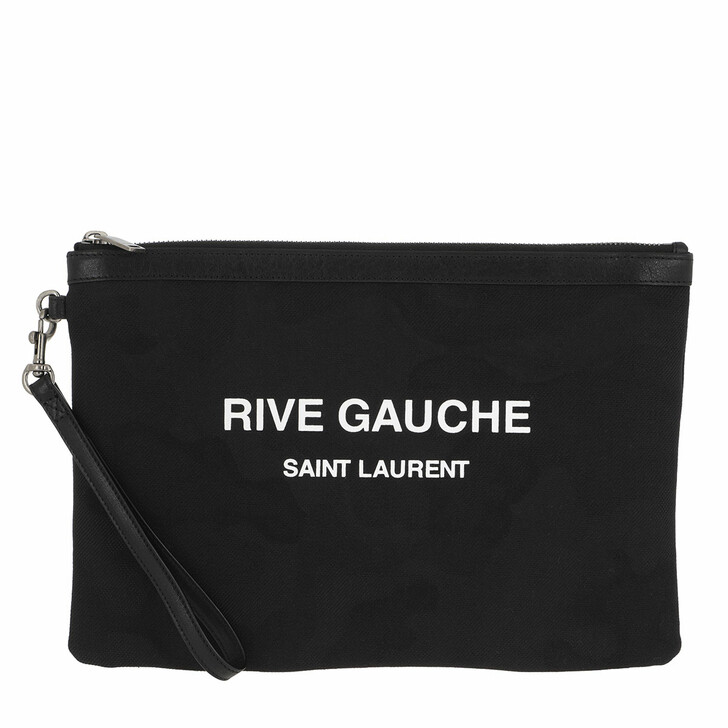 Handtasche, Saint Laurent, Rive Gauche Pouch Nero/Bianco