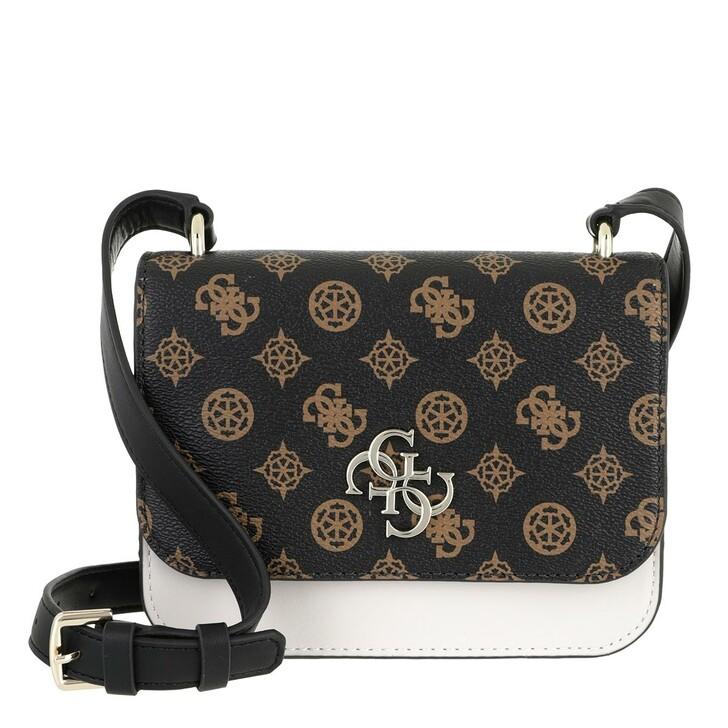 bags, Guess, Noelle Mini Flap Crossbody Bag Brown Multicolor