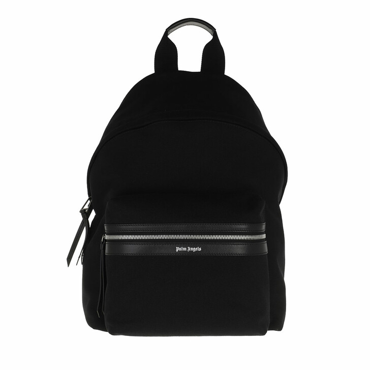 bags, Palm Angels, Classic Logo Backpack Black Silver Black Silver