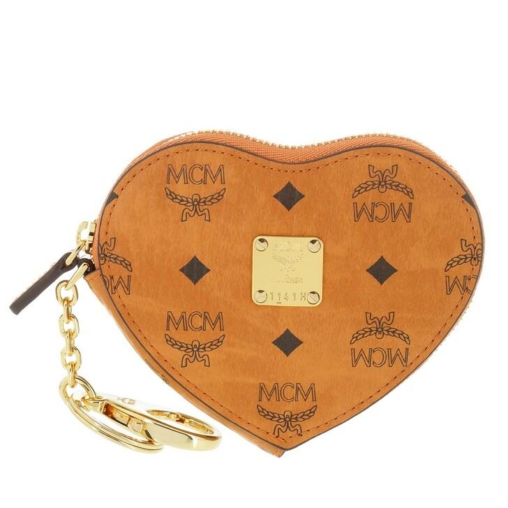 Geldbörse, MCM, Visetos Heart Coin Wallet Cognac