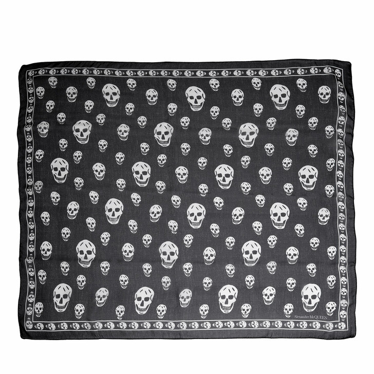 scarves, Alexander McQueen, Skull Scarf 104X120 Black/Ivory