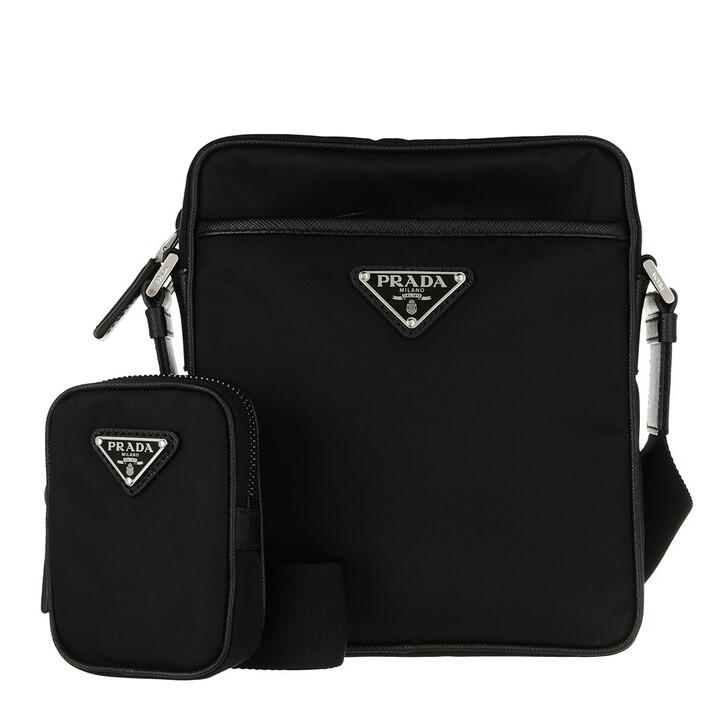bags, Prada, Messange Shoulder Bag Black