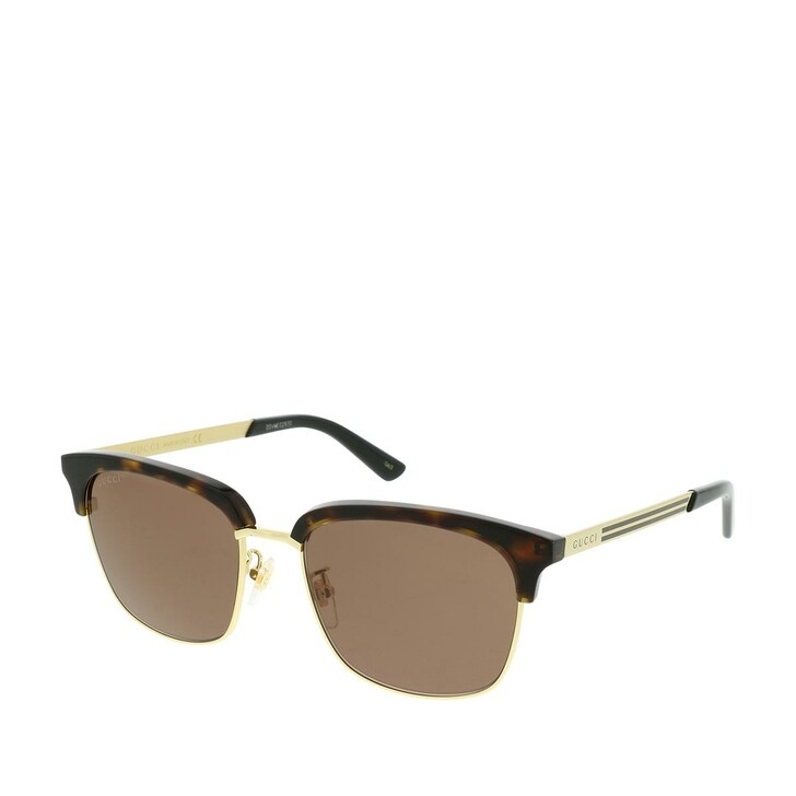 Sonnenbrille, Gucci, GG0697S-002 55 Sunglasses Havana-Gold-Brown