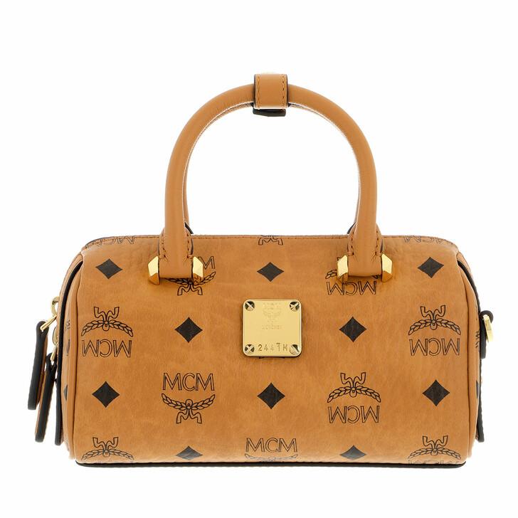 bags, MCM, Es Visetos O Boston 018  Cognac