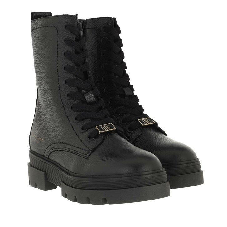 shoes, Tommy Hilfiger, Monochromatic Lace Up Boot Black