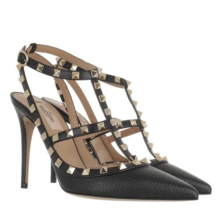 shoes, Valentino Garavani, Rockstud Ankle Strap Pumps Black