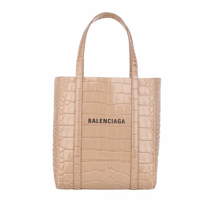 Handtasche, Balenciaga, XXS Everyday Tote Bag Croc Print Nude Beige