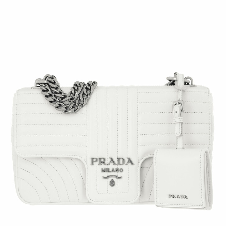 Handtasche, Prada, Diagramme Shoulder Medium Bag Leather White