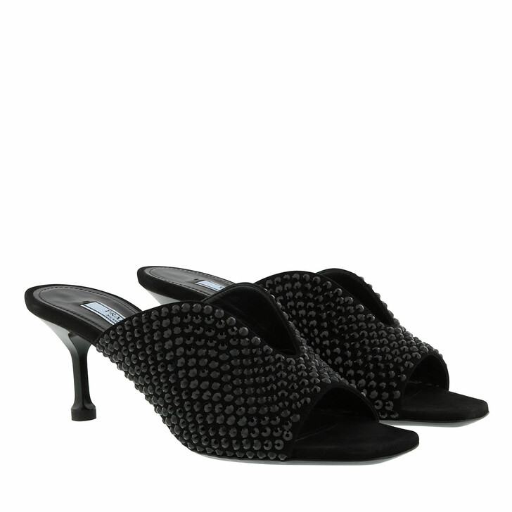 Schuh, Prada, Crystal Embellished Mules Black