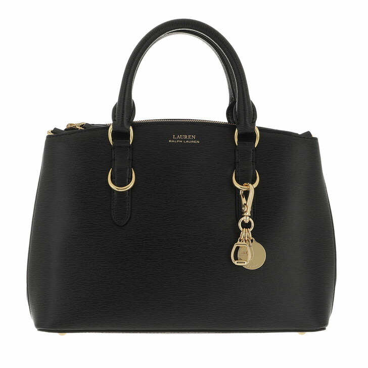 bags, Lauren Ralph Lauren, Zip Satchel Bag Mini Saffiano Leather Black