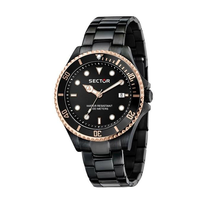 watches, Sector, 230 43Mm 3H Black Dial Black Bracelet Black