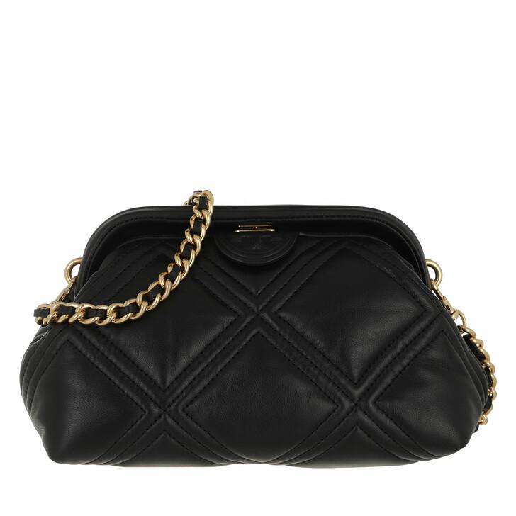 bags, Tory Burch, Fleming Soft Small Frame Crossbody Black