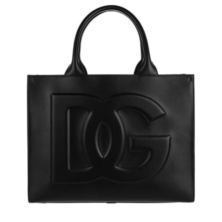 bags, Dolce&Gabbana, Small DG Daily Shopper Leather Black