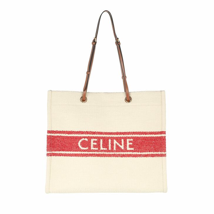 Handtasche, Celine, Squared Cabas Logo Tote Bag Beige/Red/Tan