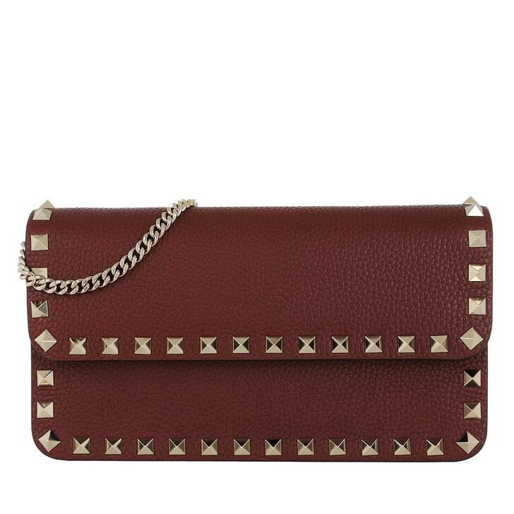 Handtasche, Valentino Garavani, Rockstud Pouch Leather Cherry