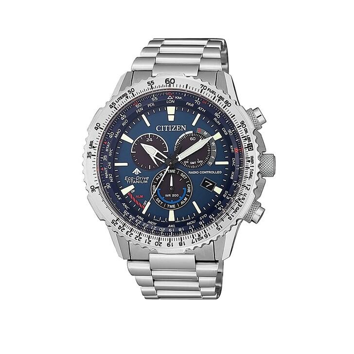 Uhr, Citizen, Radio Controlled Wristwatch Silver Blue