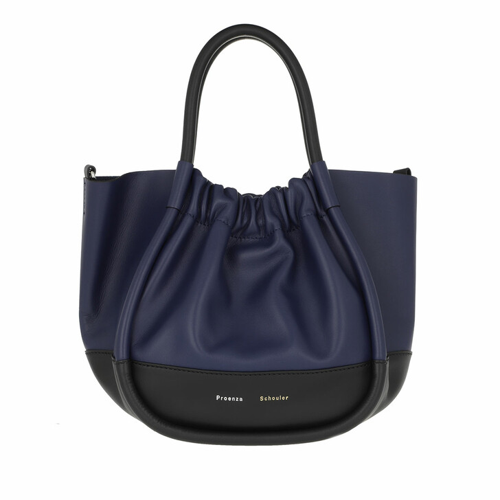 Handtasche, Proenza Schouler, Small Ruched Tote Bag Calfskin Black/Blue