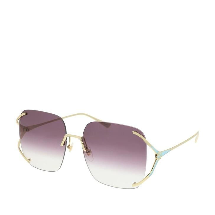 Sonnenbrille, Gucci, GG0646S-003 60 Sunglasses Gold-Gold-Violet