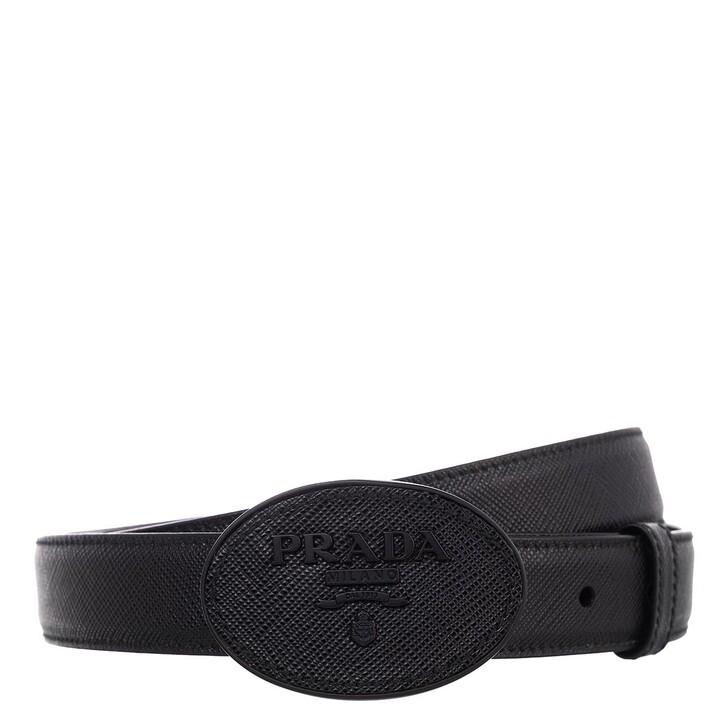belts, Prada, Logo Belt Saffiano Leather Black/Silver