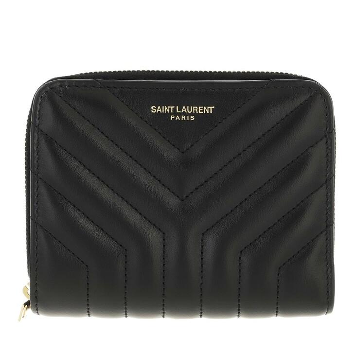 wallets, Saint Laurent, Joan Compact Zip Around Wallet Black
