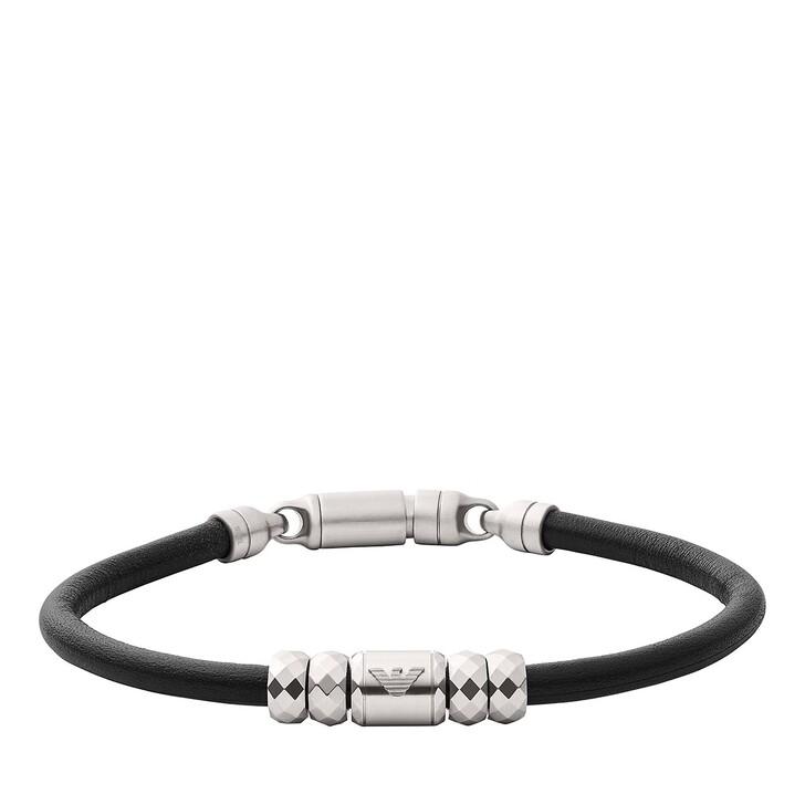 Armreif, Emporio Armani, Leather Bracelet Black/Silver