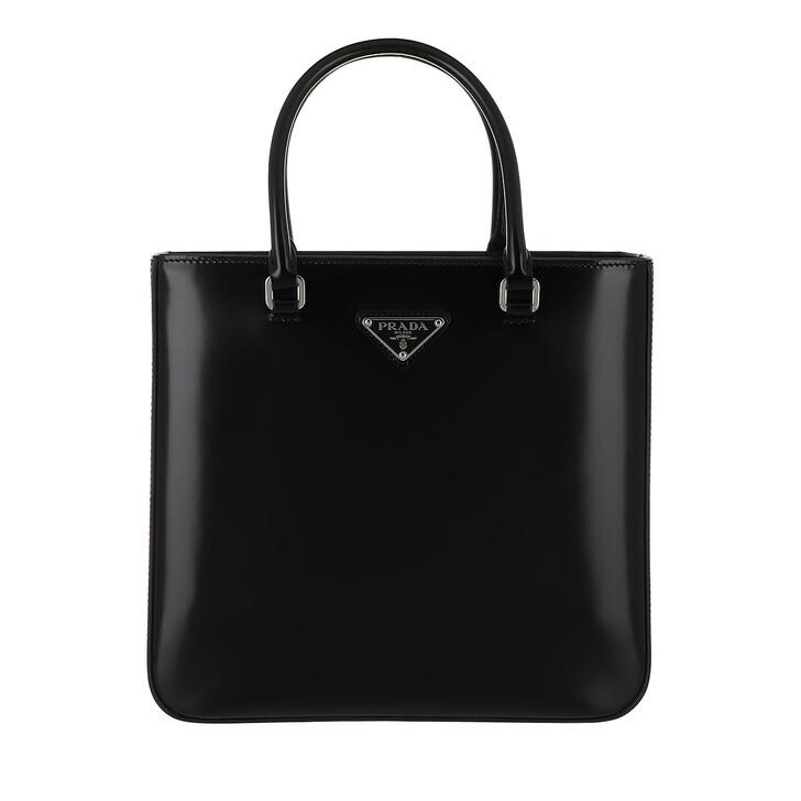 bags, Prada, Logo Tote Bag Leather Black