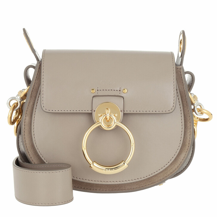 Handtasche, Chloé, Tess Shoulder Bag Small Leather Motty Grey