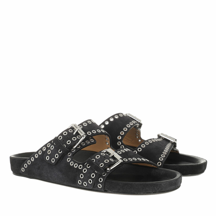 shoes, Isabel Marant, Lennyo Sandals Velvet Leather Faded Black