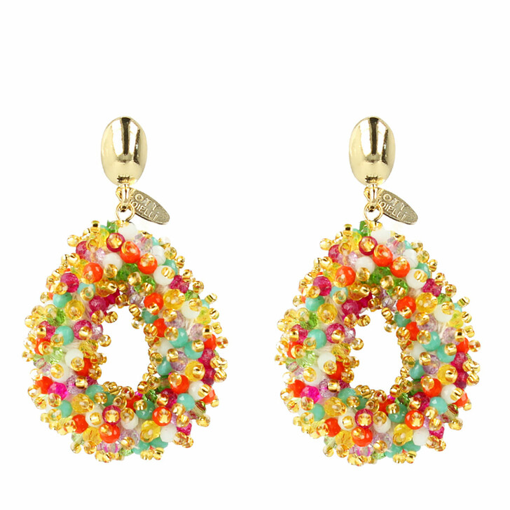 Ohrring, LOTT.gioielli, Earring Glassberry Drop Small Double Stones Multicolor