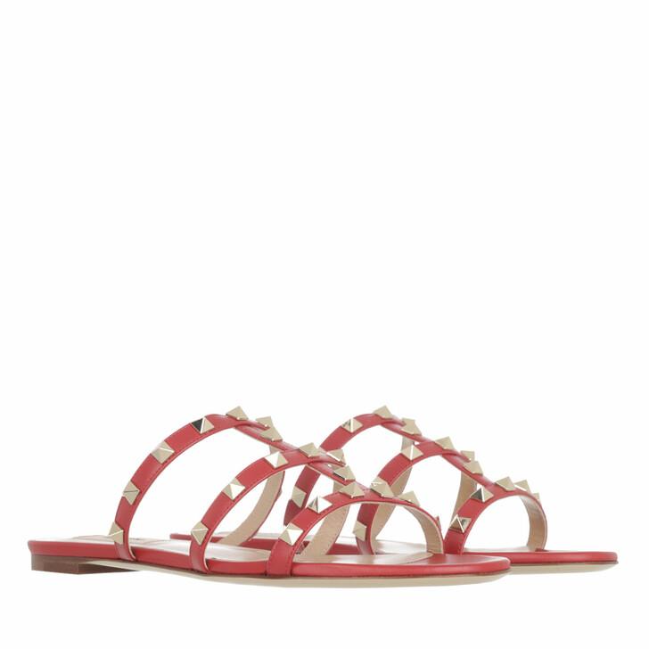 shoes, Valentino Garavani, Flat Sabot Sandals Red