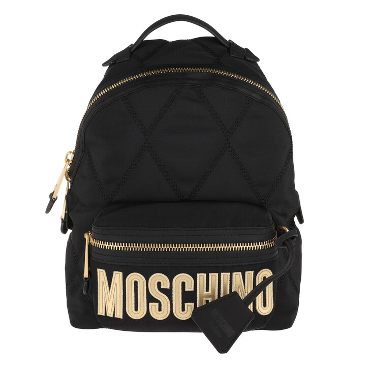 bags, Moschino, Quilted Zip Backpack Fantasy Print Black
