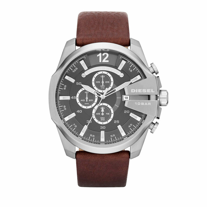 Uhr, Diesel, Mega Chief Chronograph Leather Watch Brown/Silver