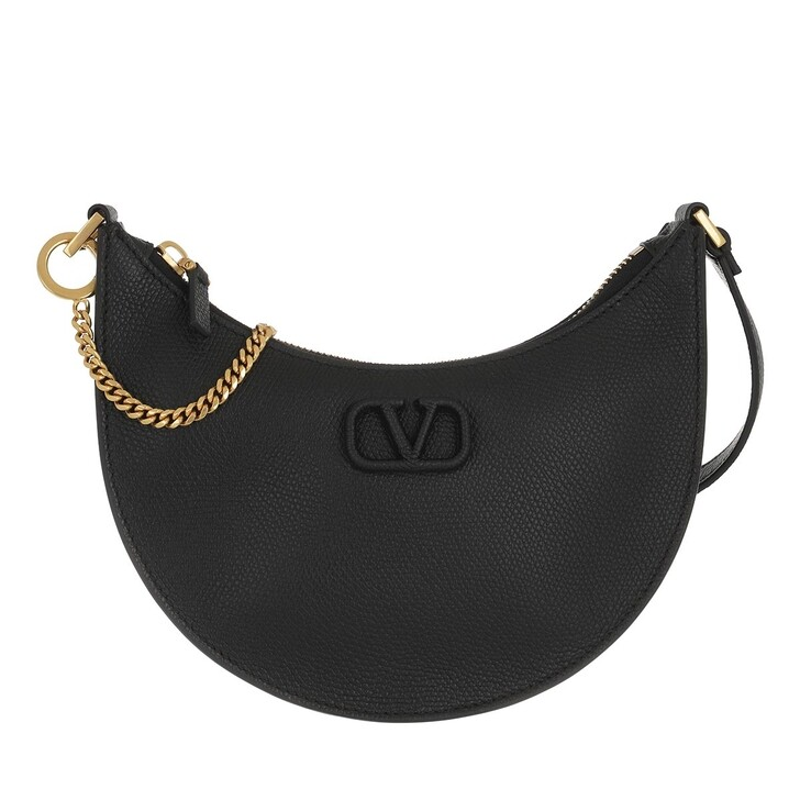 Handtasche, Valentino Garavani, Mini V-Logo Signature Hobo Bag Leather Black
