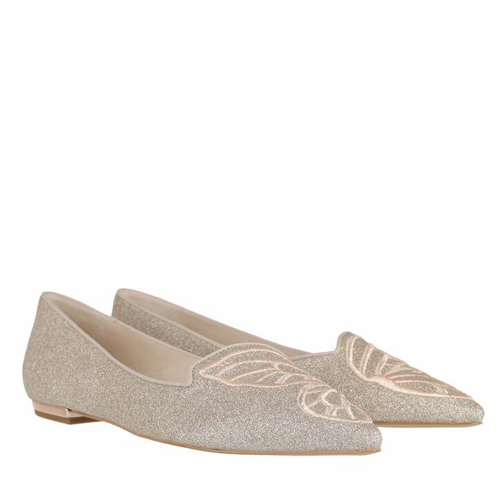 Schuh, Sophia Webster, Butterfly Flat Champagne Glitter Rose Gold
