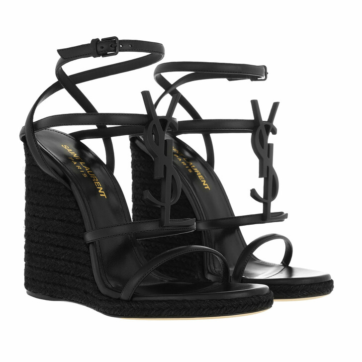 Schuh, Saint Laurent, Cassandra Wedge Espadrilles Leather Black