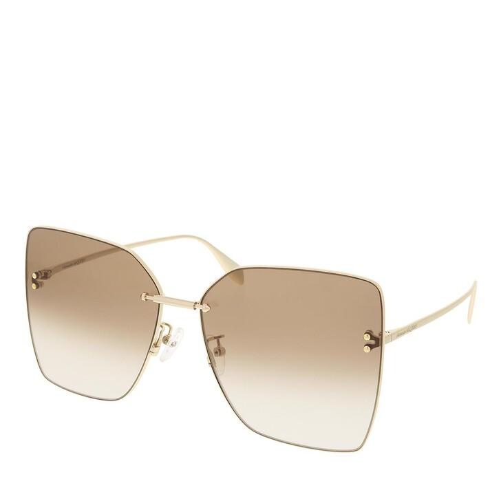 sunglasses, Alexander McQueen, AM0342S-002 63 Sunglass Woman Metal Gold-Gold-Brown