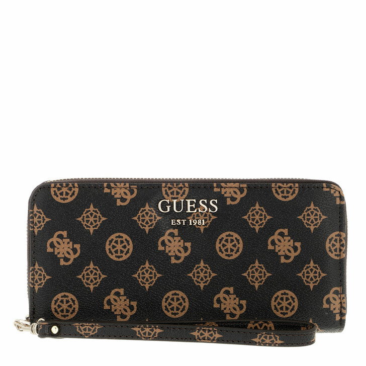 wallets, Guess, Vikky Slg Large Zip Around Brown