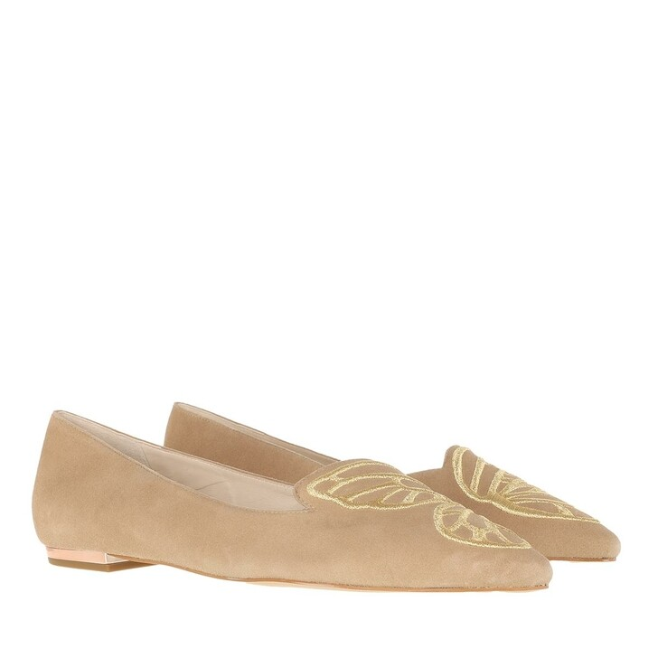 Schuh, Sophia Webster, Butterfly Embroidery FlatSuede Camel