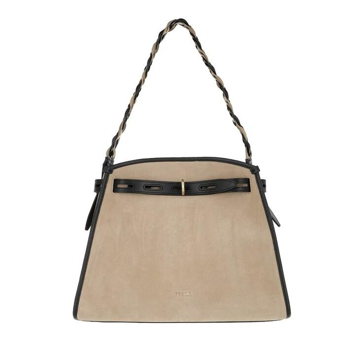 bags, Furla, Furla Margherita M Shoulder Bag - Camoscio+Vitello Juta+Nero