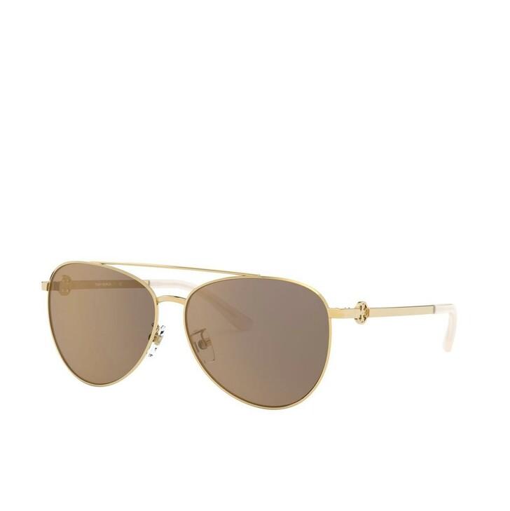 Sonnenbrille, Tory Burch, Woman Sunglasses Metal Shiny Gold Metal