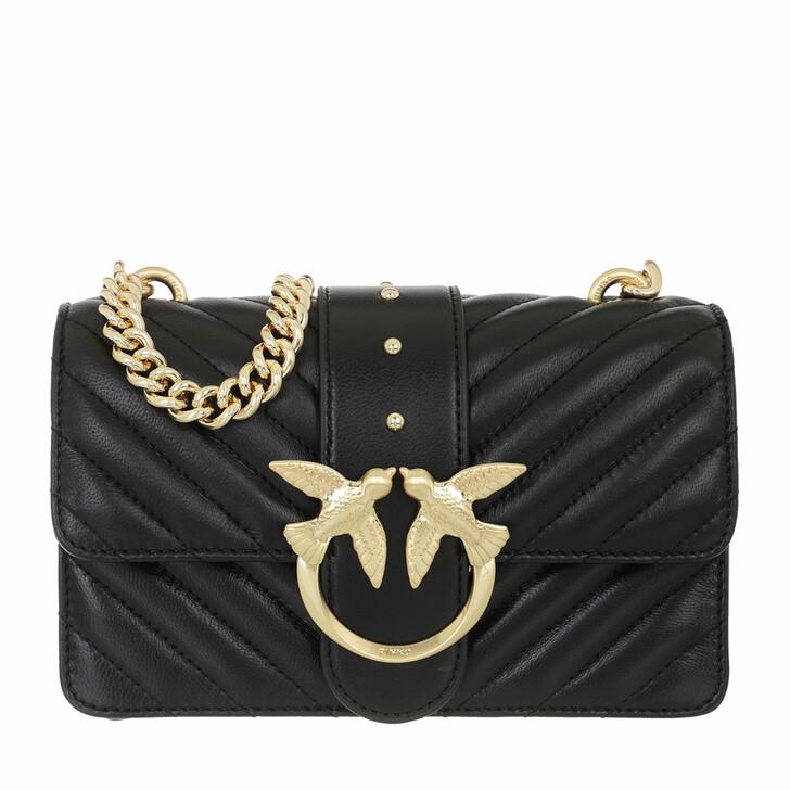 bags, Pinko, Love Mini Icon V Quilt 3 Cl Sh Nero Limousine