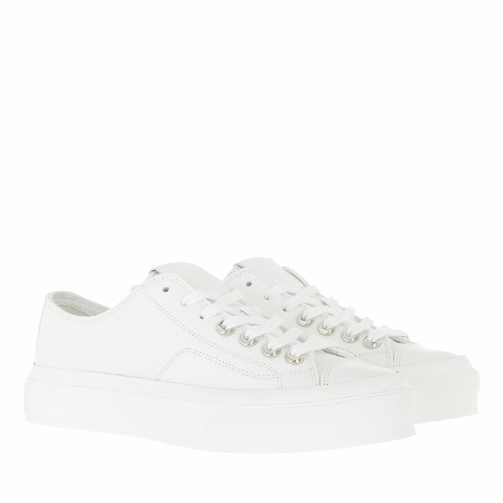 shoes, Givenchy, City Sneakers Grained Leather White