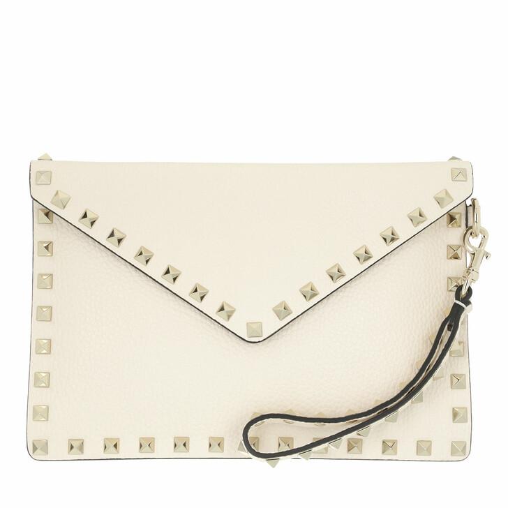 bags, Valentino Garavani, Rockstud Clutch Medium Leather Light Ivory