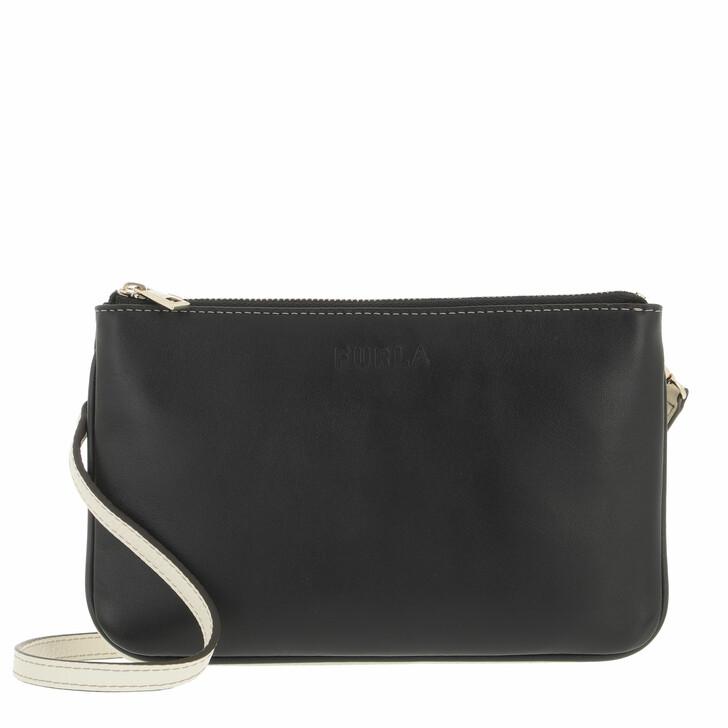 bags, Furla, Furla Miastella Mini Crossbody Nero+White Cotton